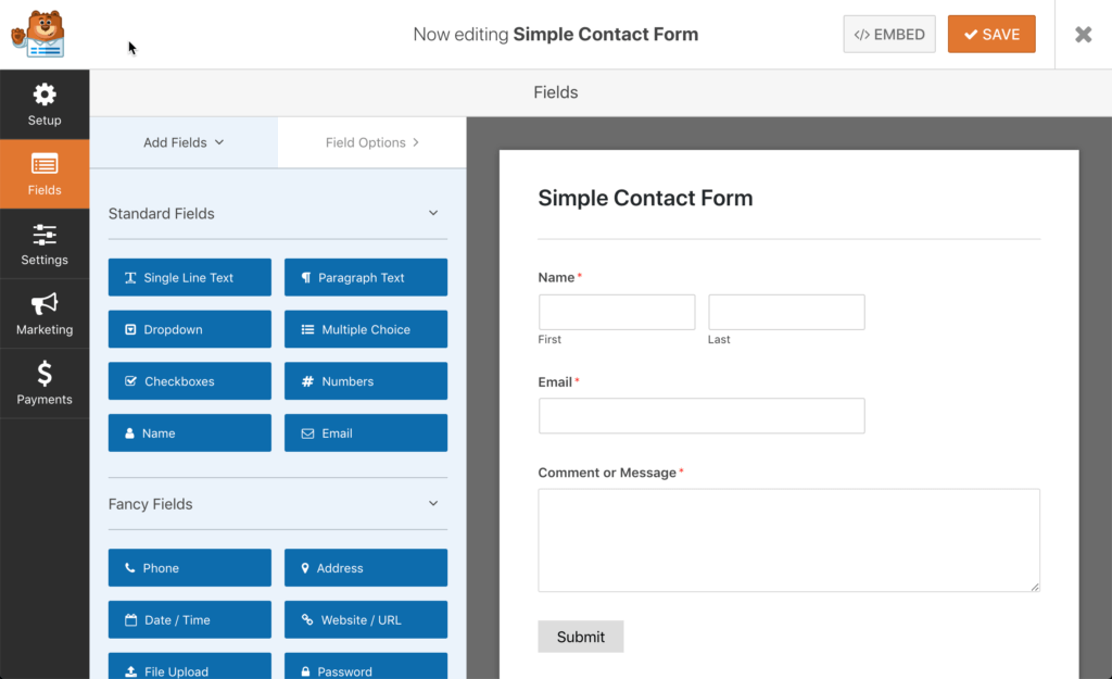 WPForms Screenshot Form Editor