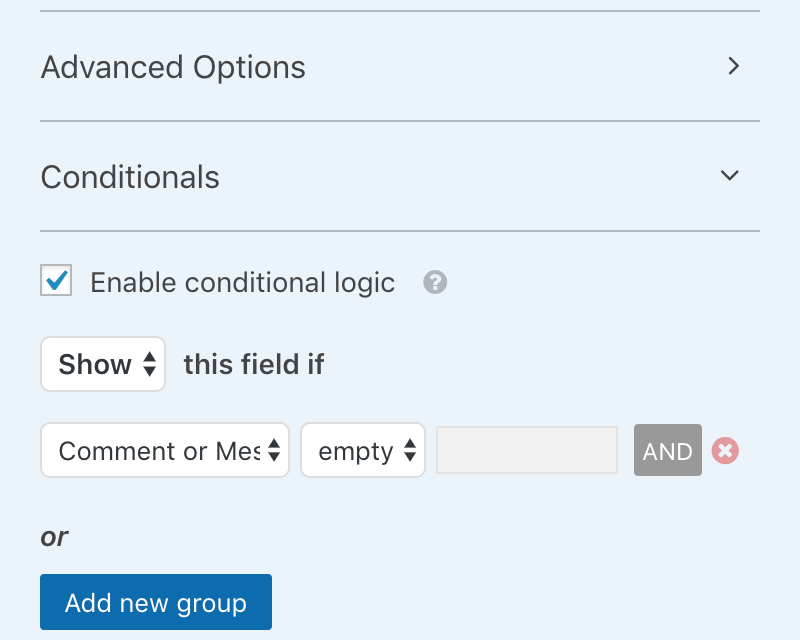 WPForms Screenshot Conditionals